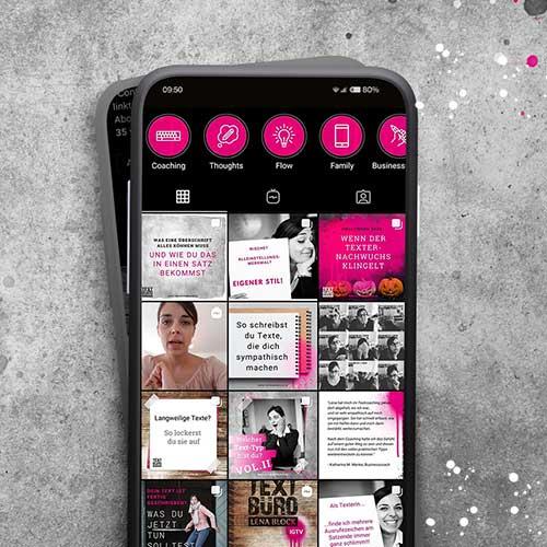 Smartphone mit Instragam Texten von Lena Instagram Account