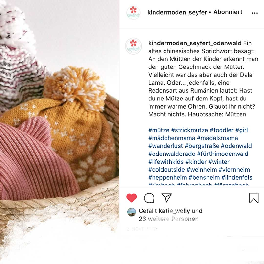 Instagram Beitrag und Texte für Kindermoden Seyfert Odenwald 2